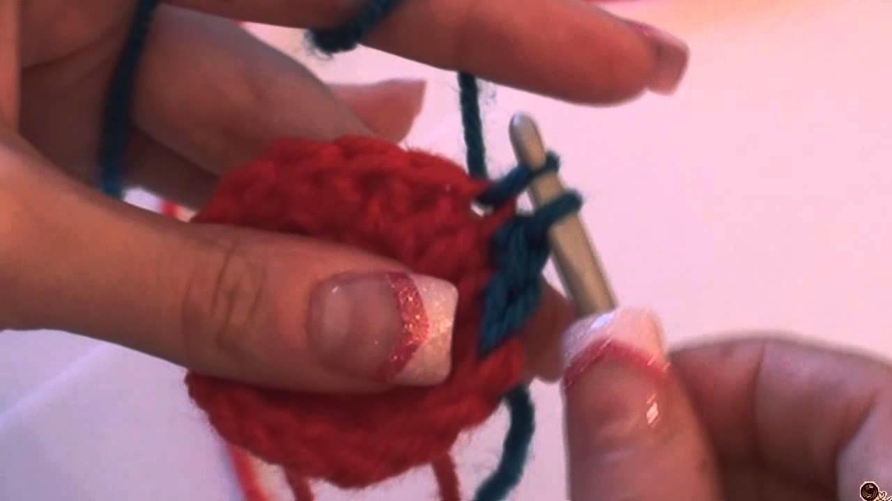 Háčkování - změna barvy u krátkých sloupků; Crochet - Changing Colors