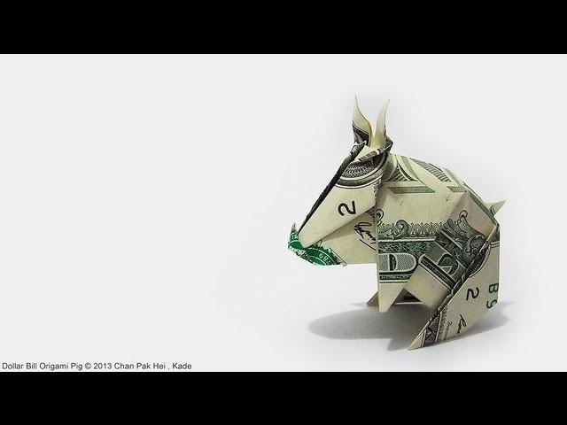 How to fold Dollar Bill Origami Pig 紙幣摺紙豬教學 ( Kade Chan )