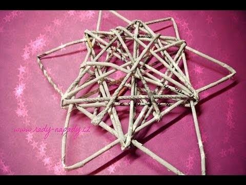 Hvězda pletená z papírových ruliček - papírový pedig (star woven from paper rolls)