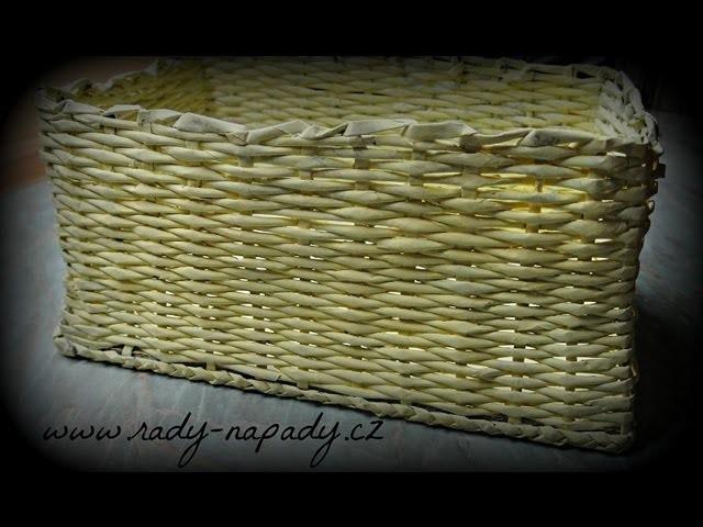 Košík z papírových ruliček - diy - pletení z papíru (Basket of paper rolls)