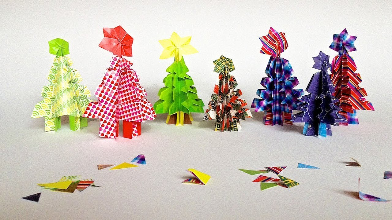 Origami stromeček - origami christmas tree