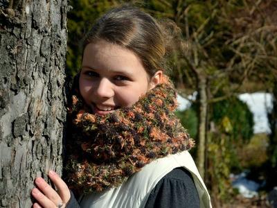 Pletení šály z bambulkové příze v kombinaci s jinou efektní přízí
