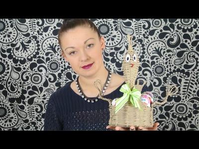 Pletení z papíru - velikonoční slepička z papírových ruliček