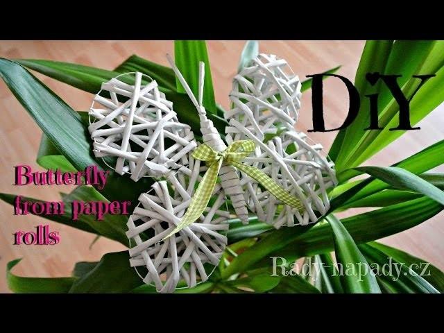 Pletení z papíru - motýlek (butterfly from paper rolls) DiY