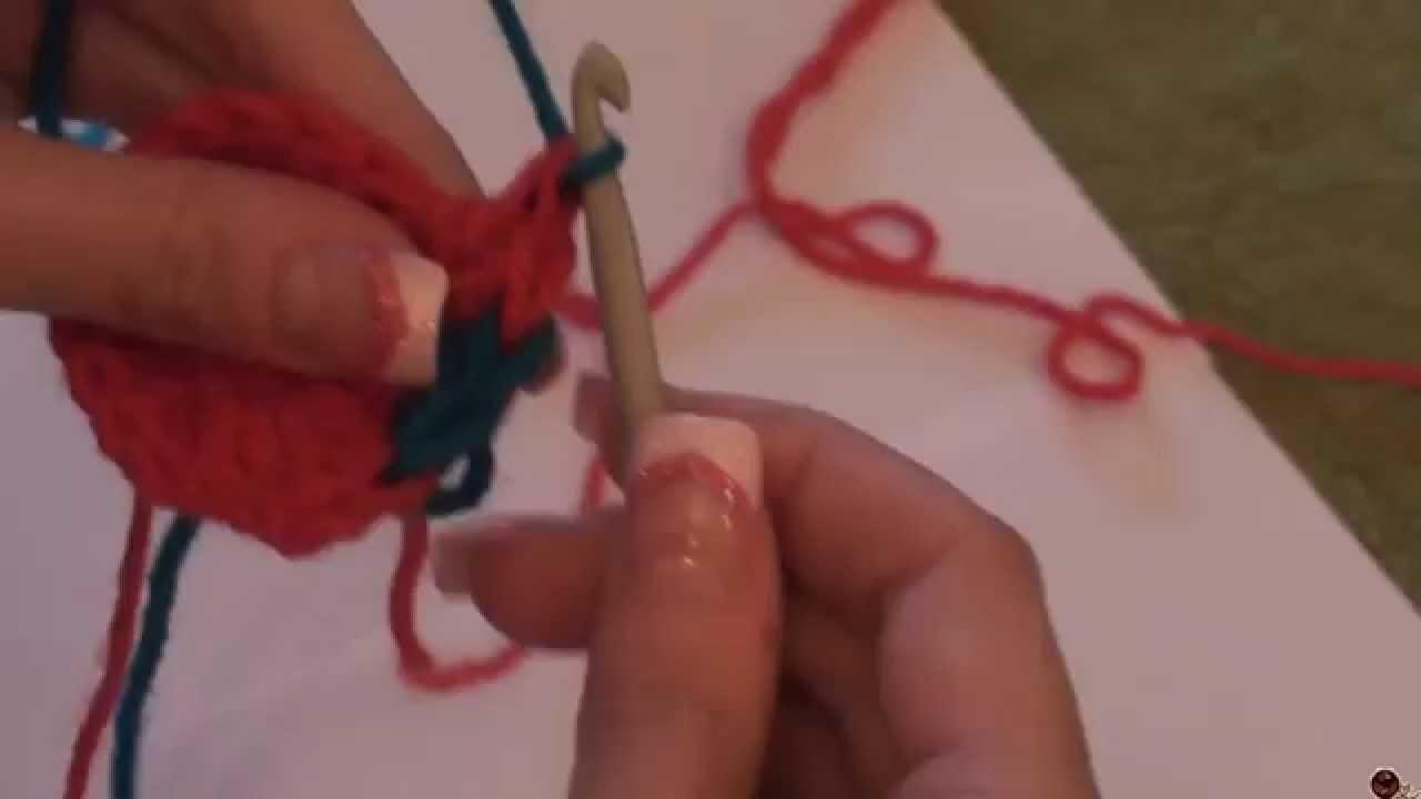 Háčkování - změna barvy u dlouhých sloupků; Crochet - Changing Colors