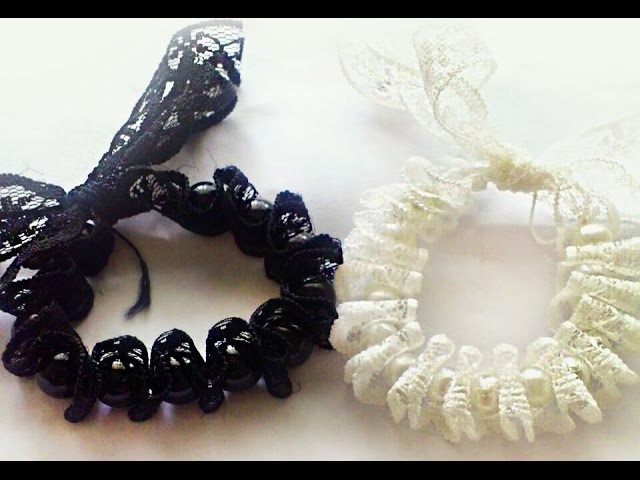 DIY Black and White lace bracelet
