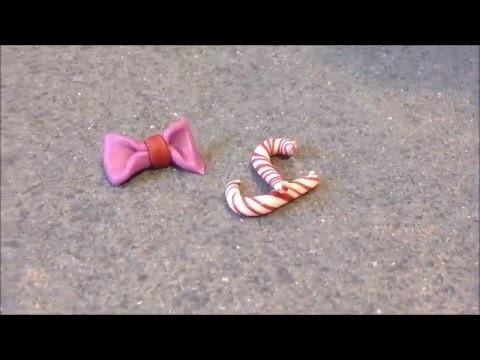 FIMO HMOTA - Candy Cane a mašle !!! DIY !!!