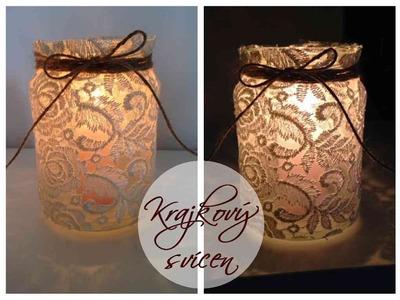 Krajkový svícen -diy candle jars