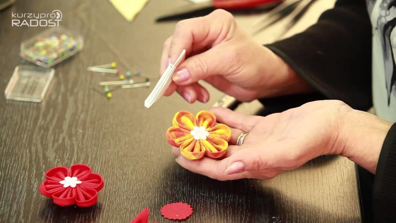 Kanzashi - textilní kytičky - díl 2.