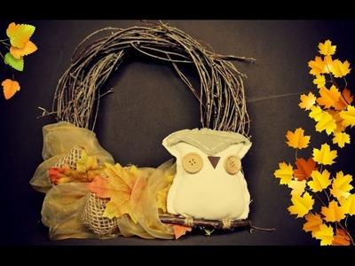 Věnec z březových větviček. Fall decor. Autumn wreat. DiY