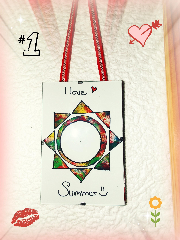 Letní dekorace-Barevné sluníčko do rámečku-DIY (Summer decoration-colorful sun)