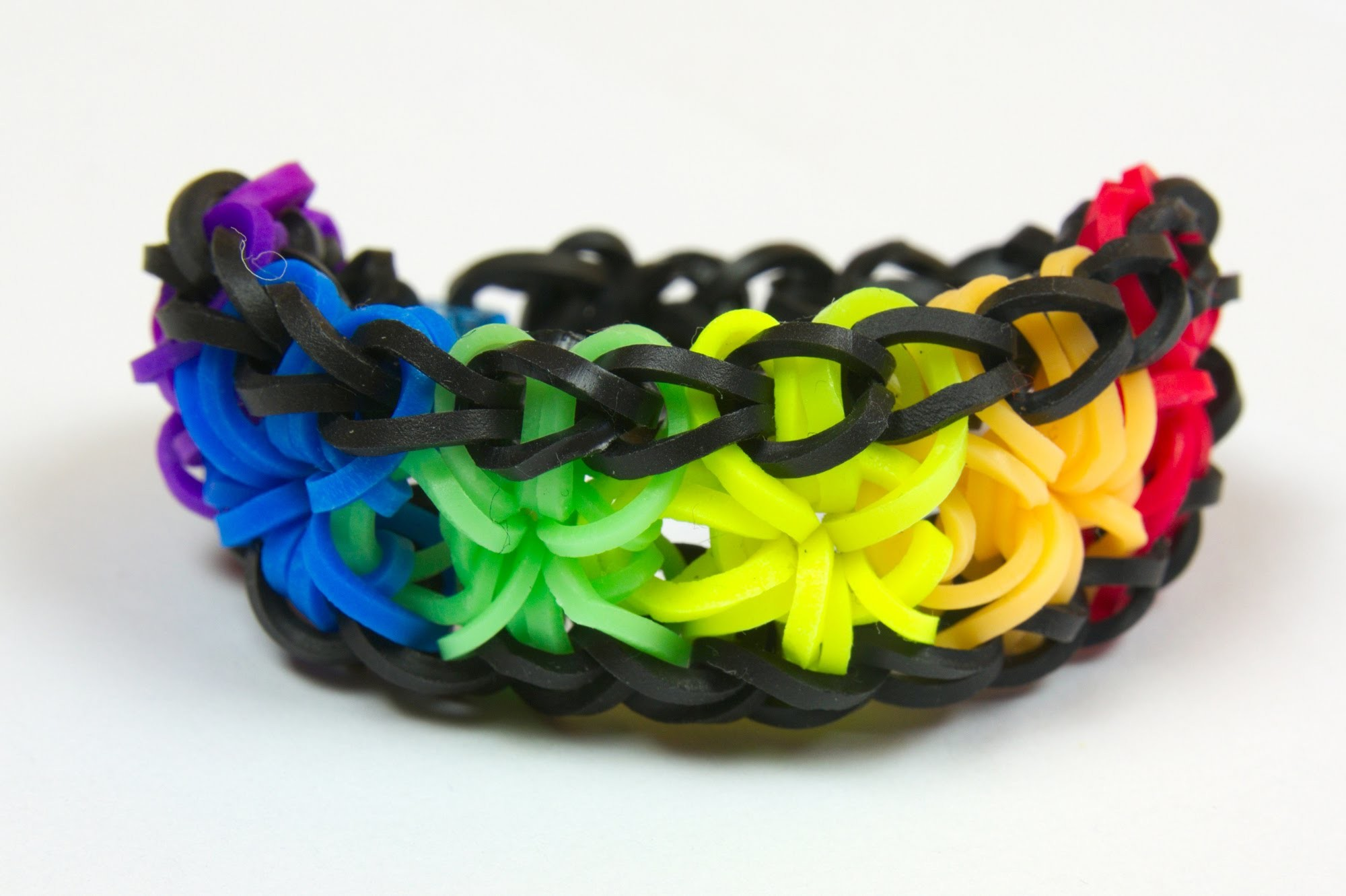 Loom Bands CZ - RAINBOW STARBURST BRACELET - Tutorial