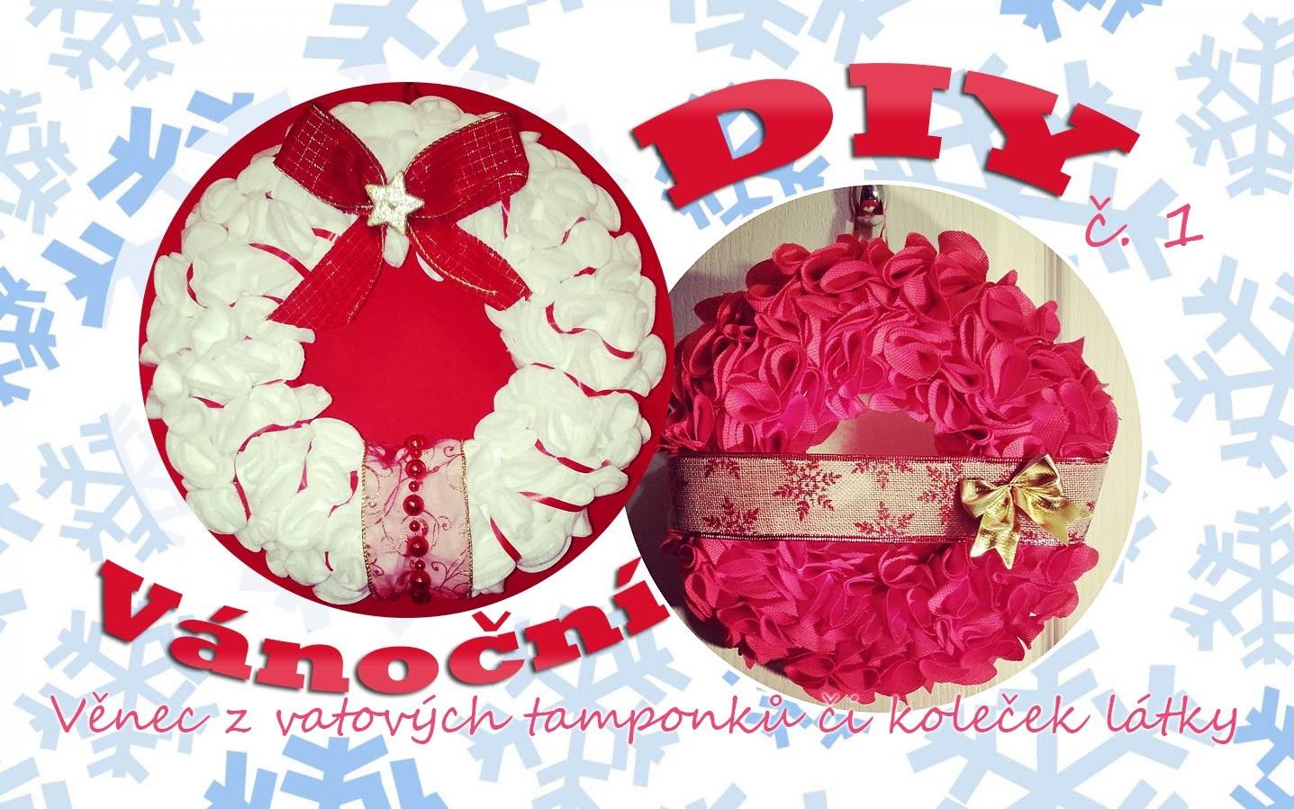 Vánoční DIY č.1 - Věnec z vatových tamponků či koleček látky