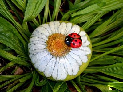 ♡ DIY: jarní malované kamínky.spring painted stone(beruška) ♡