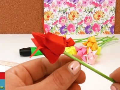 Origami tulipán DIY. Návod jak složit květinu. Dekorace jednoduše a rychle. Flower Origami