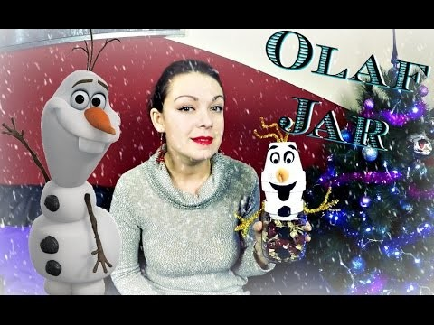 OLAF Dóza na bonbonky. DiY Frozen Olaf Jar. winter decoration