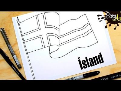 How to draw the flag of Iceland.hvernig á að teikna fána Íslands.Lýðveldið Ísland