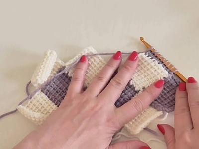 Háčková tuniská deka Entrelac 2. díl, Tunisian crochet blanket