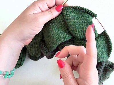 Entrelac pletený do kruhu 4. díl 2. řada čtverců, Knitting Entrelac around 2nd row of squares