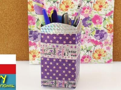 DIY Stojánek na psací stůl - tužky, kosmetika - ze starého nové