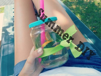 #DIY #summer - sklenička s brčkem