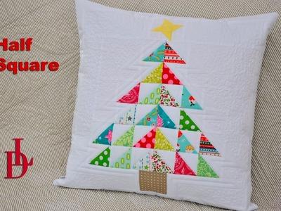 Patchwork Half Square - Vánoční stromeček z půlených čtverců.