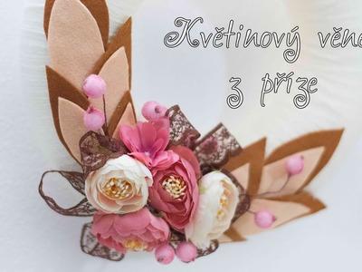 Květinový věnec z příze. diy flowers wreath with yarn