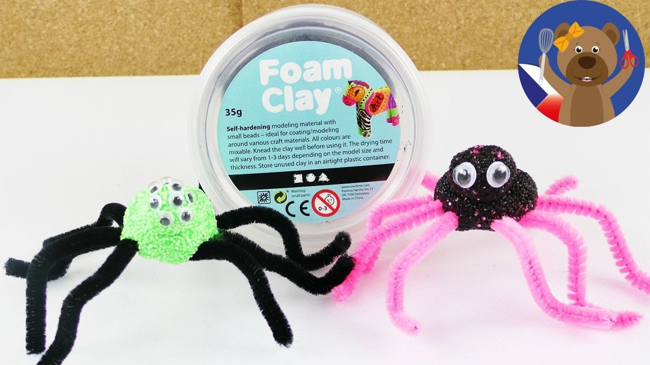 Strašidelní i roztomilí pavouci z Foam Clay - cool dekorace pro dětskou párty