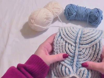 Ozdobná pletená šála Brioche, Knitting brioche stitch