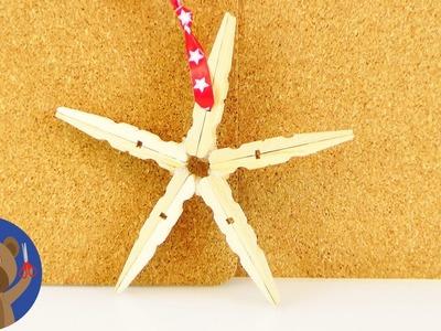 DIY vánoční dekorace - hvězda z kolíčků na prádlo