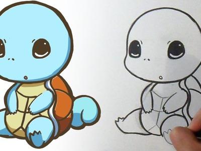 Cómo dibujar a Squirtle Kawaii