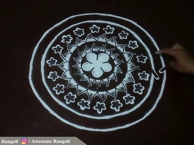 Beautiful Rangoli design tutorial. Free hand Rangoli design. Muggulu. Kolam designs