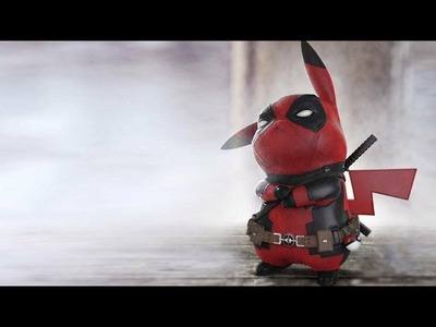 How to draw pokemon (3D) pikachu in deadpool costume